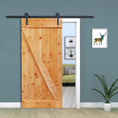 Z-Bar Solid Core Knotty Pine Interior Barn Door Slab with Hardware Kit (Light Brown)