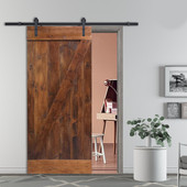 Z-Bar Solid Core Knotty Pine Interior Barn Door Slab with Hardware Kit (Walnut Stain)