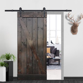 Z-Bar Solid Core Knotty Pine Interior Barn Door Slab with Hardware Kit (Ash Grey)