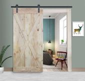 6FT Sliding Door Hardware Set with Two-side X Panel Wood Color Pine Slab Interior Barn Door (Bent Strap Style, Frosted Black)