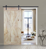 6FT Sliding Door Hardware Set with Two-side X Panel Wood Color Pine Slab Interior Barn Door (Straight Strap Style, Frosted Black)