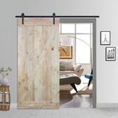 6FT Sliding Door Hardware Set with Two-side Z-Bar Wood Color Pine Slab Interior Barn Door (Straight Strap Style, Frosted Black)