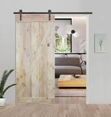 6FT Sliding Door Hardware Set with Two-side Z-Bar Wood Color Pine Slab Interior Barn Door