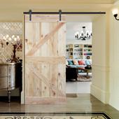 6FT Sliding Door Hardware Set with Two-side K Design Wood Color Pine Slab Interior Barn Door (Bent Strap Style, Frosted Black)