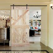 6FT Sliding Door Hardware Set with Two-side K Design Wood Color Pine Slab Interior Barn Door (Bent Strap Style, Dark Coffee)