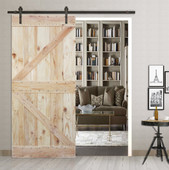 6FT Sliding Door Hardware Set with Two-side K Design Wood Color Pine Slab Interior Barn Door (Straight Strap Style, Dark Coffee)