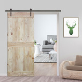 6FT Sliding Door Hardware Set with Two-side Mid-Bar Wood Color Pine Slab Interior Barn Door