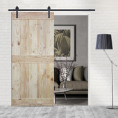 6FT Sliding Door Hardware Set with Two-side Mid-Bar Wood Color Pine Slab Interior Barn Door (Straight Strap Style, Frosted Black)