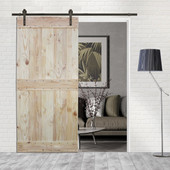 6FT Sliding Door Hardware Set with Two-side Mid-Bar Wood Color Pine Slab Interior Barn Door (Straight Strap Style, Dark Coffee)