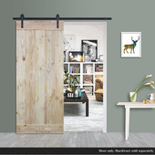 "TMS 36"" x 84"" Wood Plank Natural Knotty Pine Barn Sliding Interior Door Slab"