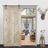 6FT Sliding Door Hardware Set with Wood Plank Natural Knotty Pine Slab Interior Barn Door (Bent Strap Style, Dark Coffee)
