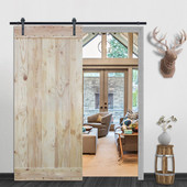 6FT Sliding Door Hardware Set with Wood Plank Natural Knotty Pine Slab Interior Barn Door (Bent Strap Style, Frosted Black)