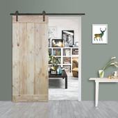 6FT Sliding Door Hardware Set with Wood Plank Natural Knotty Pine Slab Interior Barn Door (Straight Strap Style, Dark Coffee)