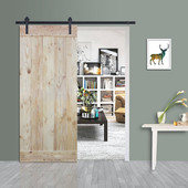 6FT Sliding Door Hardware Set with Wood Plank Natural Knotty Pine Slab Interior Barn Door (Straight Strap Style, Frosted Black)