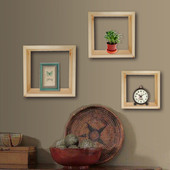 Set of 3 Unfinished Solid Core Knotty Pine Wall Home Decor Cube Floating Shelves