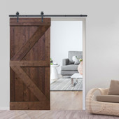 6FT Sliding Door Hardware Set with K Design Wood Primed  Pine Slab Interior Barn Door
