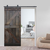 6FT Sliding Door Hardware Set with K Design Wood Primed Ash Gray  Pine Slab Interior Barn Door