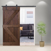 6FT Sliding Door Hardware Set with K Design Wood Primed Walnut Stain  Pine Slab Interior Barn Door