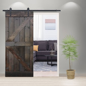 6FT Sliding Door Hardware Set with K Design Wood Ash Gray Pine Slab Interior Barn Door