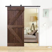 6FT Dark Coffee Sliding Door Hardware Set with K Design Wood Primed Pine Slab Interior Barn Door