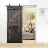 6FT Dark Coffee Sliding Door Hardware Set with K Design Wood Ash Gray Pine Slab Interior Barn Door