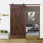 6FT Dark Coffee Sliding Door Hardware Set with X Design Primed Walnut Stain Wood Slab Interior Barn Door
