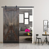 6FT Forested Black Sliding Door Hardware Set with X Design Primed Ash Gray Wood Slab Interior Barn Door