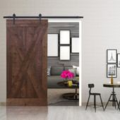 6FT Forested Black Sliding Door Hardware Set with X Design Primed Walnut Stain Wood Slab Interior Barn Door