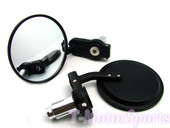 "3""  MOTORCYCLE CNC Round 7/8 Bar End Mirrors Black  For Honda Ducati BMW TRIUMPH HARLEY SUZUKI YAMAHA"