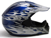 Adult Flame Dirt Bike ATV Motocross Off-Road Helmet - Blue