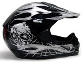 Adult Skull Flame Motocross Helmet - Black/Silver