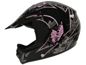 BLACK PINK BUTTERFLY ATV MOTOCROSS HELMET MX DIRTBIKE