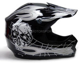 TMS YOUTH BLACK/SILVER SKULL FLAME MOTOCROSS HELMET