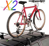 2 X ALUMINUM UPRIGHT CAR ROOF BIKE BICYCLE RACK CARRIER