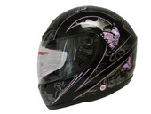 Black Pink Butterfly Motorcycle Full Face Helmet DOT