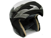 BLACK FLIP UP MODULAR FULL FACE MOTORCYCLE HELMET DOT