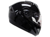 BLACK MODULAR FLIP UP DUAL-VISOR MOTORCYCLE HELMET Glossy
