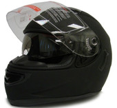 MATTE BLACK DUAL VISOR FULL FACE MOTORCYCLE HELMET