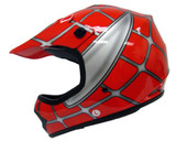 YOUTH RED SPIDER NET DIRT BIKE ATV MOTOCROSS HELMET