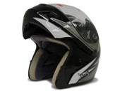 TRIBAL BLACK MODULAR FLIP UP FULL FACE MOTORCYCLE HELMET DOT