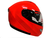 RED DUAL VISOR MODULAR MOTORCYCLE FLIP UP HELMET