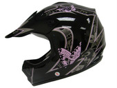 YOUTH PINK BUTTERFLY DIRTBIKE ATV MOTOCROSS HELMET