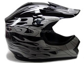 YOUTH BLACK FLAME DIRT BIKE ATV MOTOCROSS HELMET