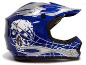YOUTH BLUE/SILVER SKULL DIRT BIKE MOTOCROSS HELMET MX