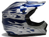 YOUTH BLUE FLAME DIRT BIKE MOTOCROSS HELMET ATV MX