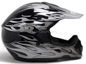 BLACK FLAME DIRT BIKE OFF-ROAD ATV MOTOCROSS HELMET