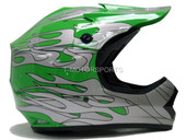 YOUTH GREEN SILVER FLAME ATV MOTOCROSS HELMET MX DOT