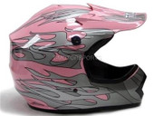 YOUTH PINK FLAME DIRT BIKE ATV MOTOCROSS HELMET MX