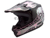 YOUTH BLACK PINK SKULL DIRT BIKE MOTOCROSS HELMET MX