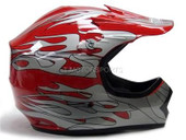 YOUTH RED FLAME MOTOCROSS HELMET ATV DIRTBIKE MX GEAR